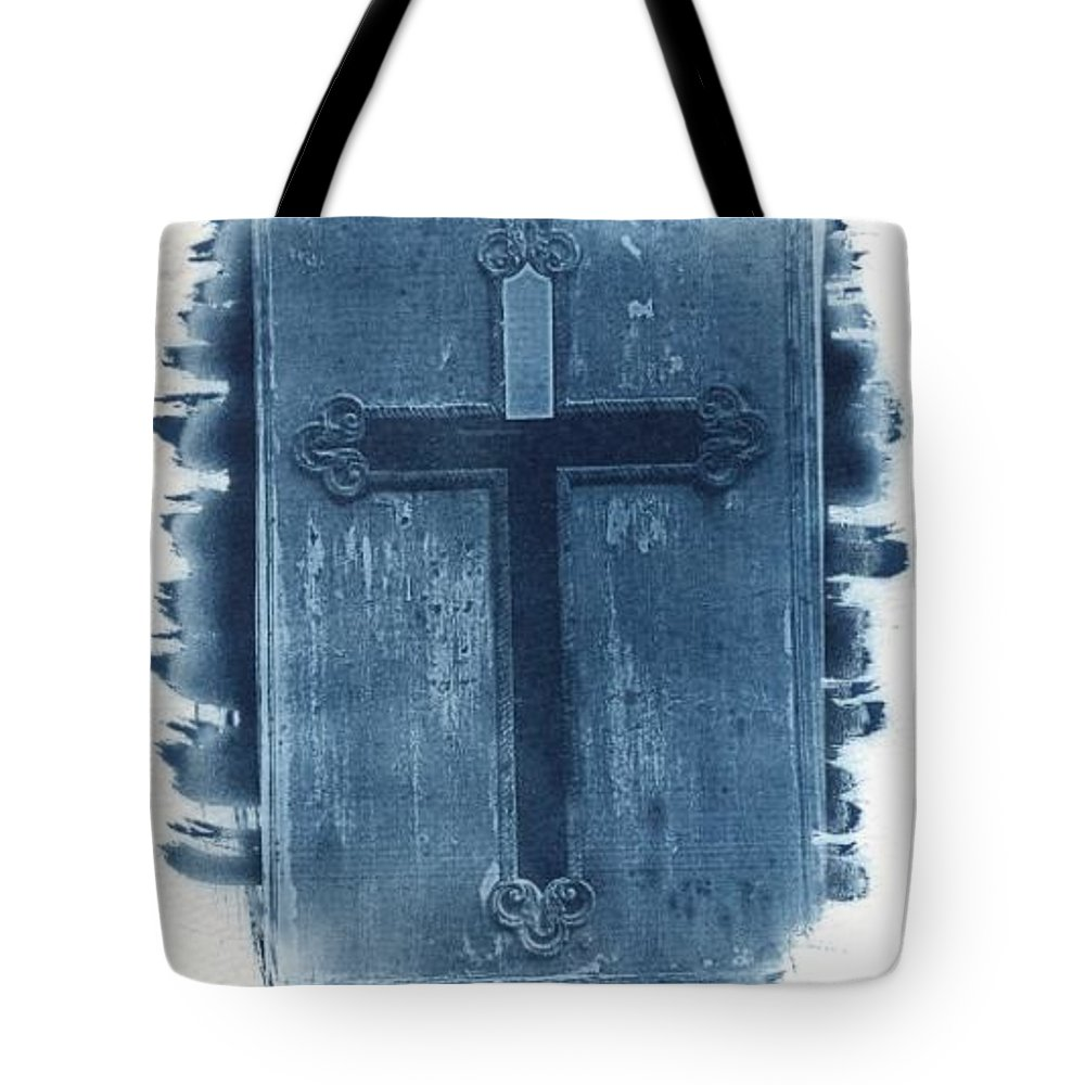 Cyanotype Tote Bag featuring the photograph Blue Cross by Jane Linders