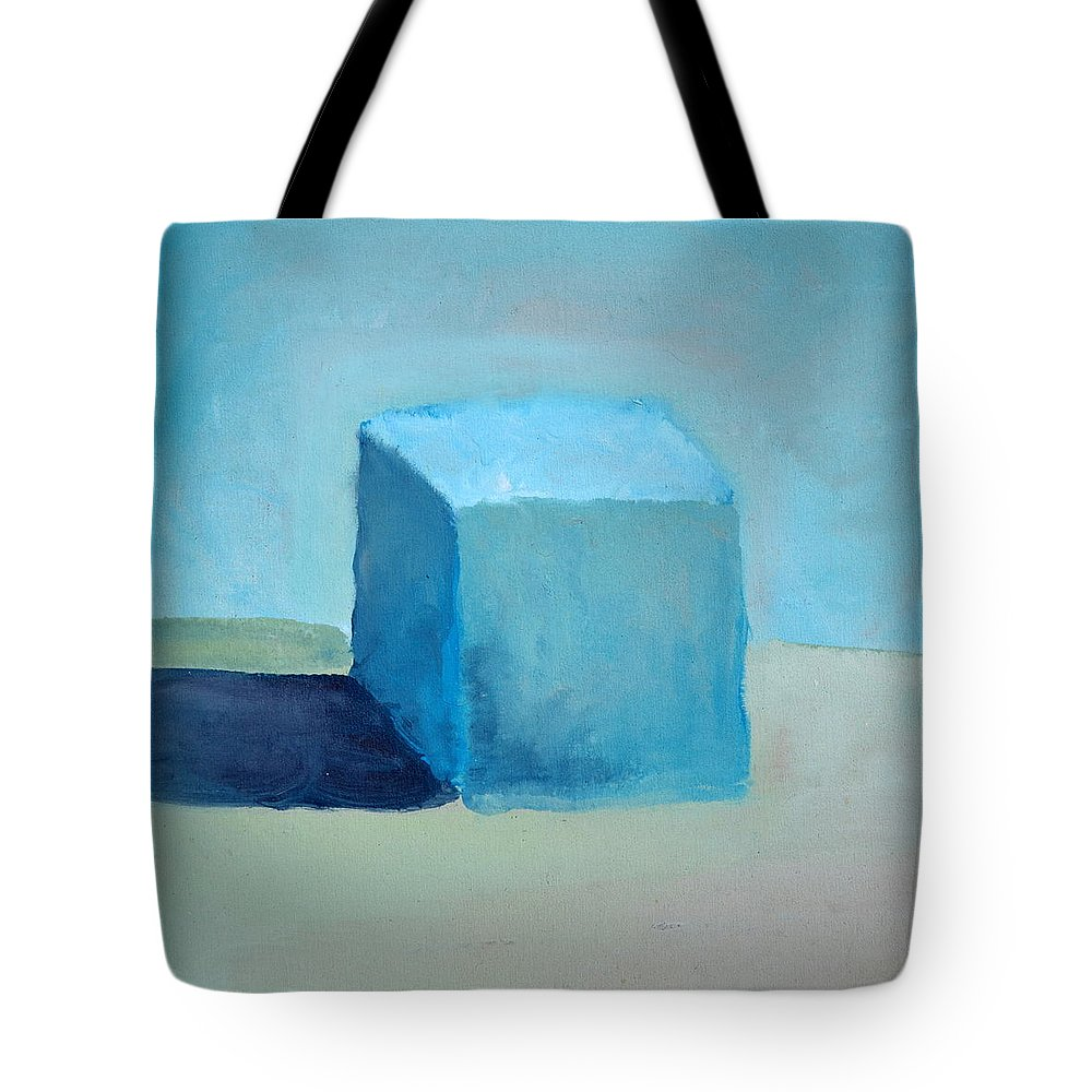 Blue Tote Bag featuring the painting Blue Cube Still Life by Michelle Calkins
