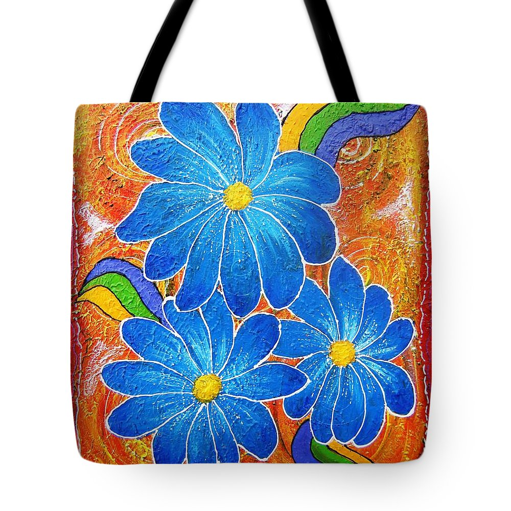 Tote Bag featuring the painting Blue Daisies Gone Wild by Tami Booher