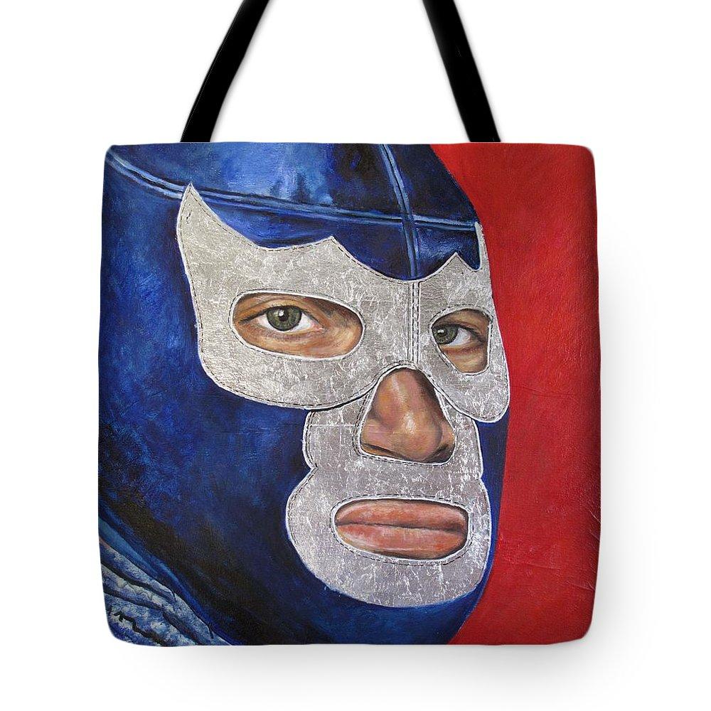 Blue Demon Tote Bag featuring the painting Blue Demon Jr by Nancy Almazan