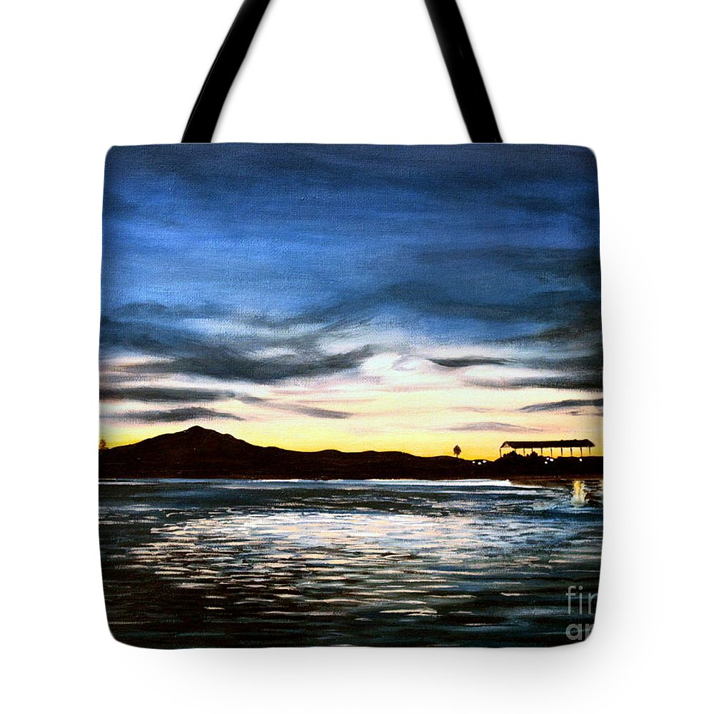 Landscape Tote Bag featuring the painting Blue Diablo by Elizabeth Robinette Tyndall