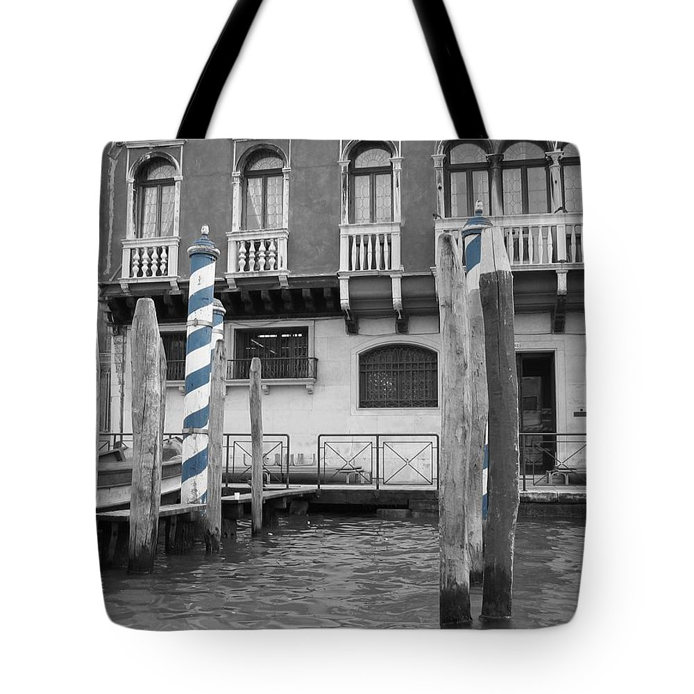 Cityscape Tote Bag featuring the photograph Blue Docks by Dylan Punke
