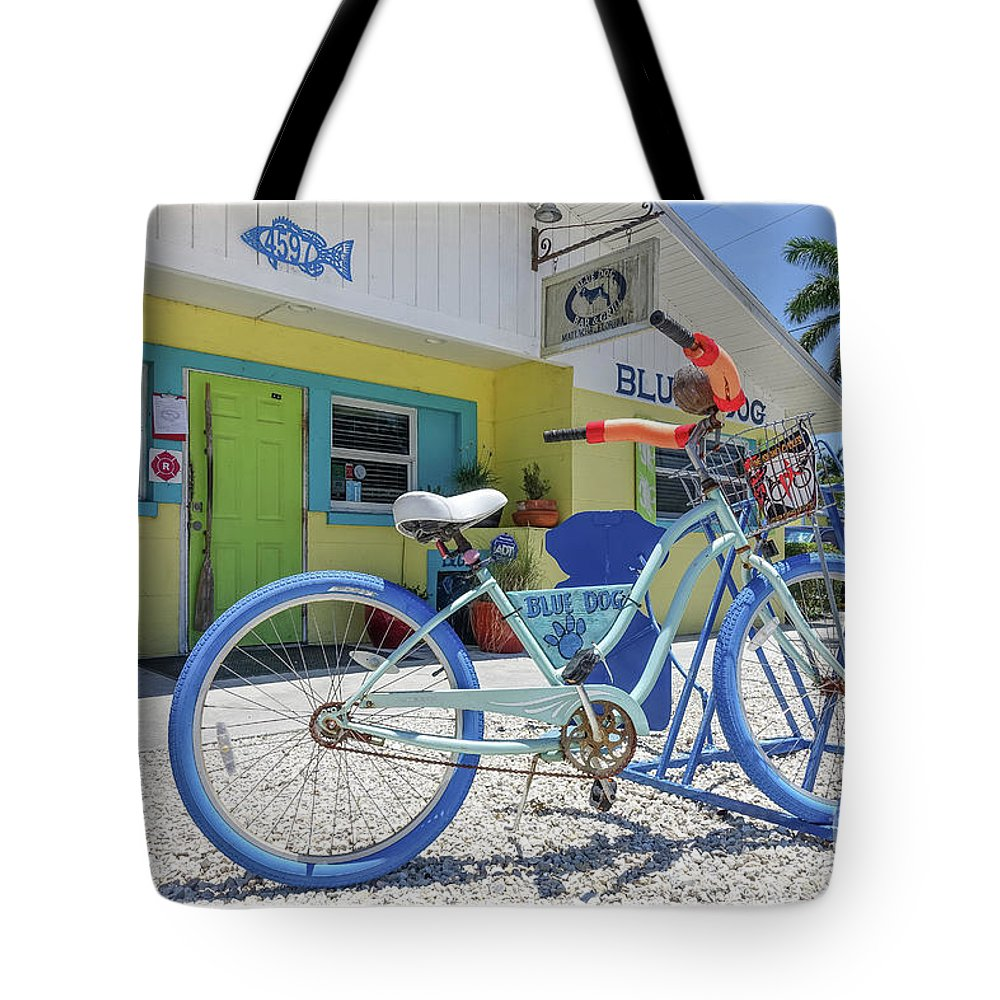 Florida Tote Bag featuring the photograph Blue Dog Matlacha Island Florida by Edward Fielding