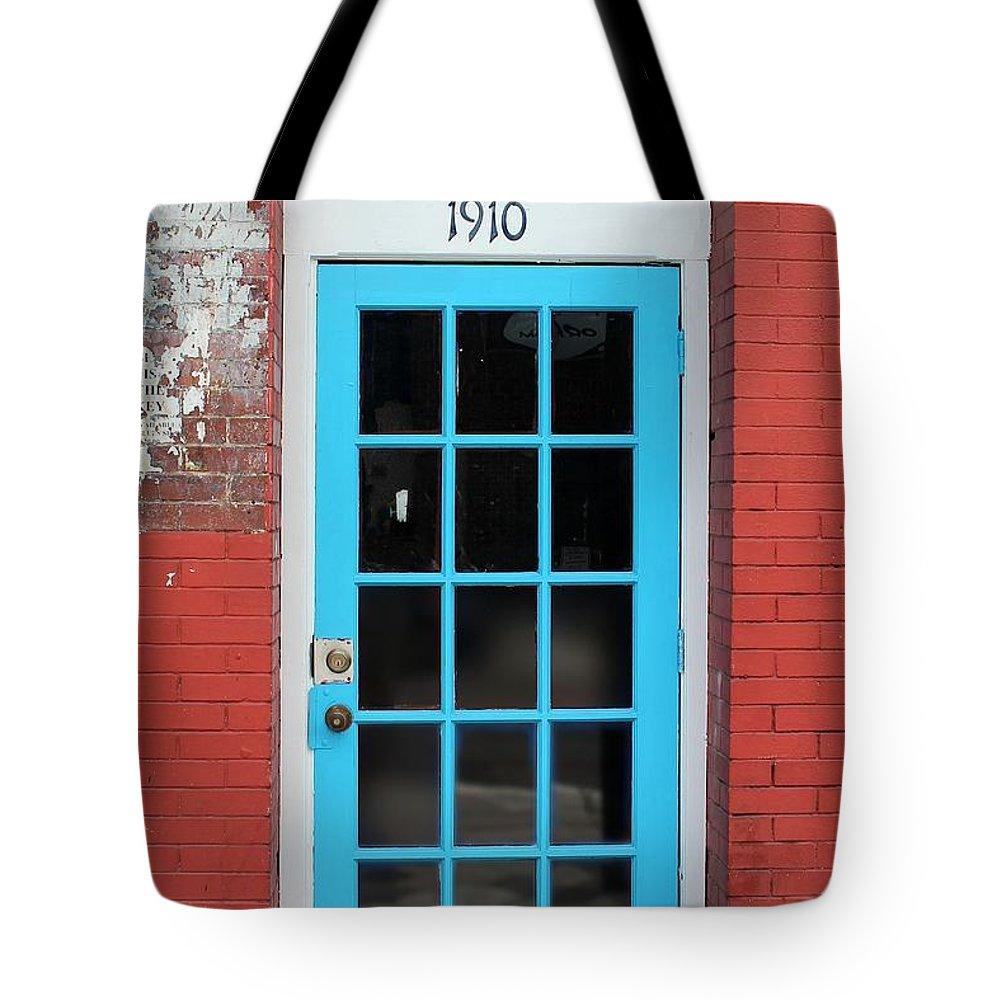 Door Tote Bag featuring the photograph Blue Door by Robert Wilder Jr