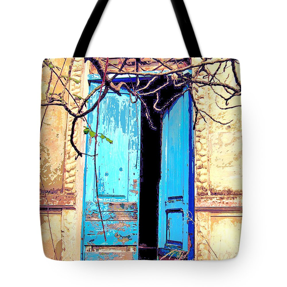 Blue Doors Tote Bag featuring the mixed media Blue Doors In Tuscany by Dominic Piperata