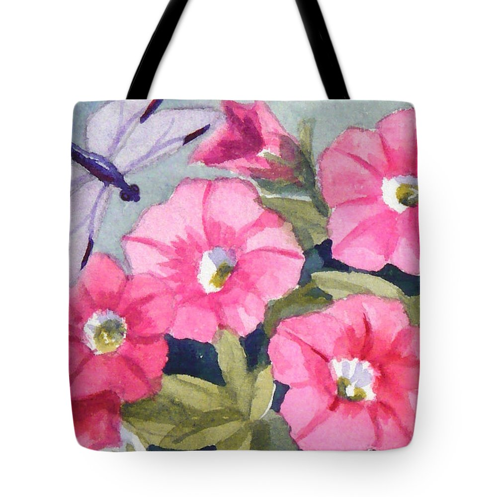 Dragonfly Painting Tote Bag featuring the painting Blue Dragonfly And Petunias by Janet Zeh