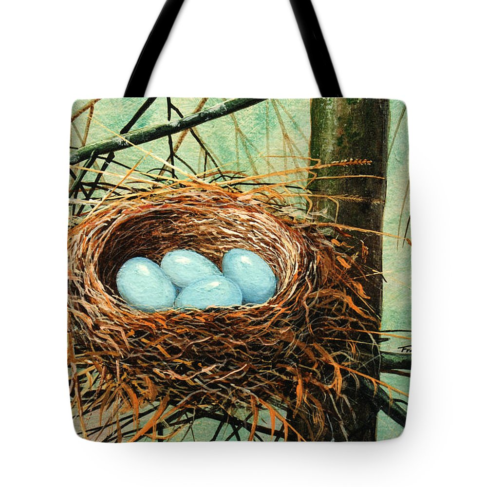 Wildlife Tote Bag featuring the painting Blue Eggs In Nest by Frank Wilson