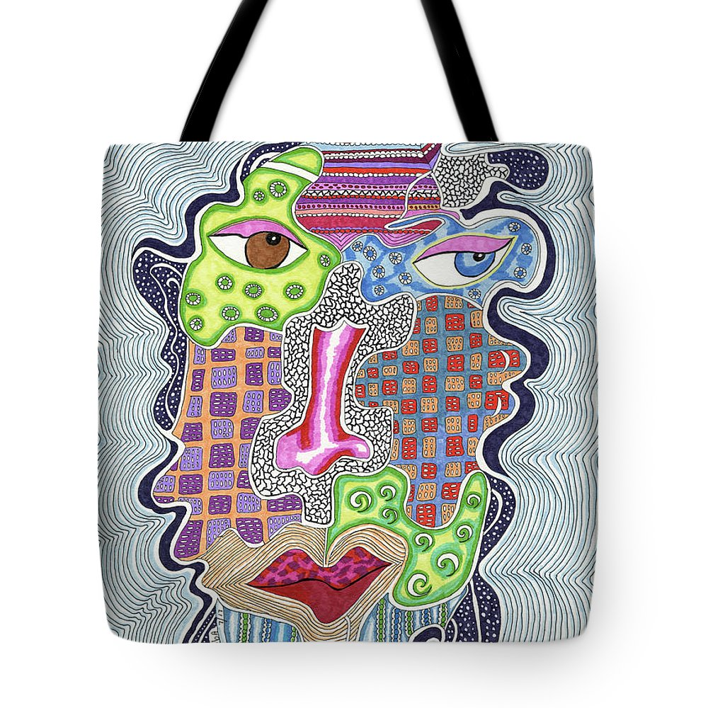 Face Tote Bag featuring the painting Blue Eye Brown Eye by Rheba McMichael