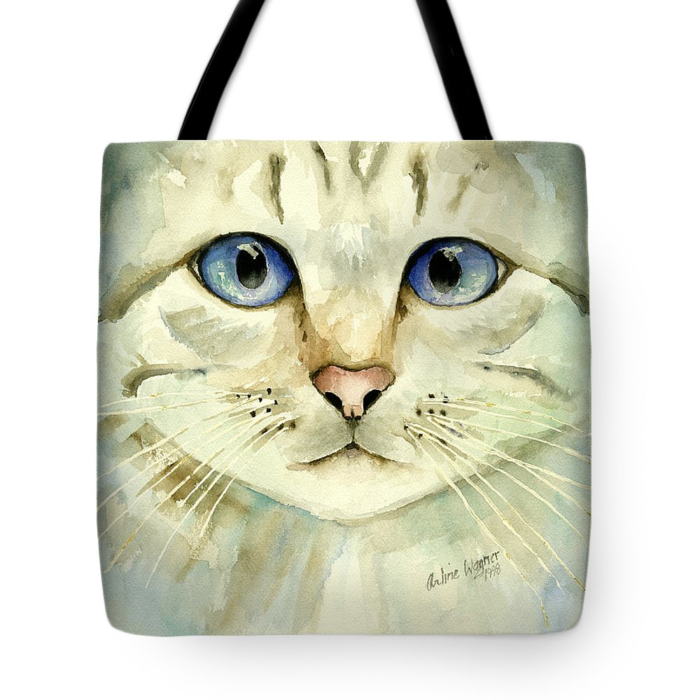 Cat Tote Bag featuring the painting Blue-eyed Cat by Arline Wagner