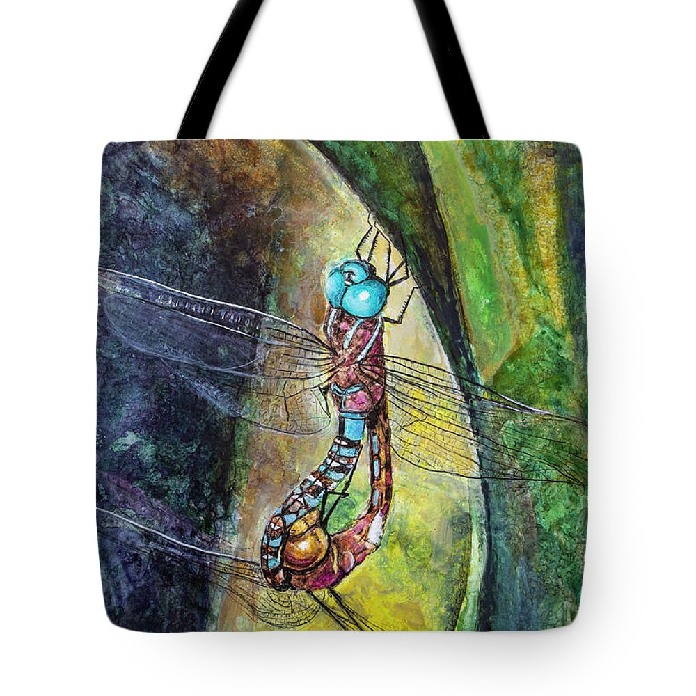 Painting Tote Bag featuring the painting Blue-eyed Darner Mating Wheel by Rick Mosher