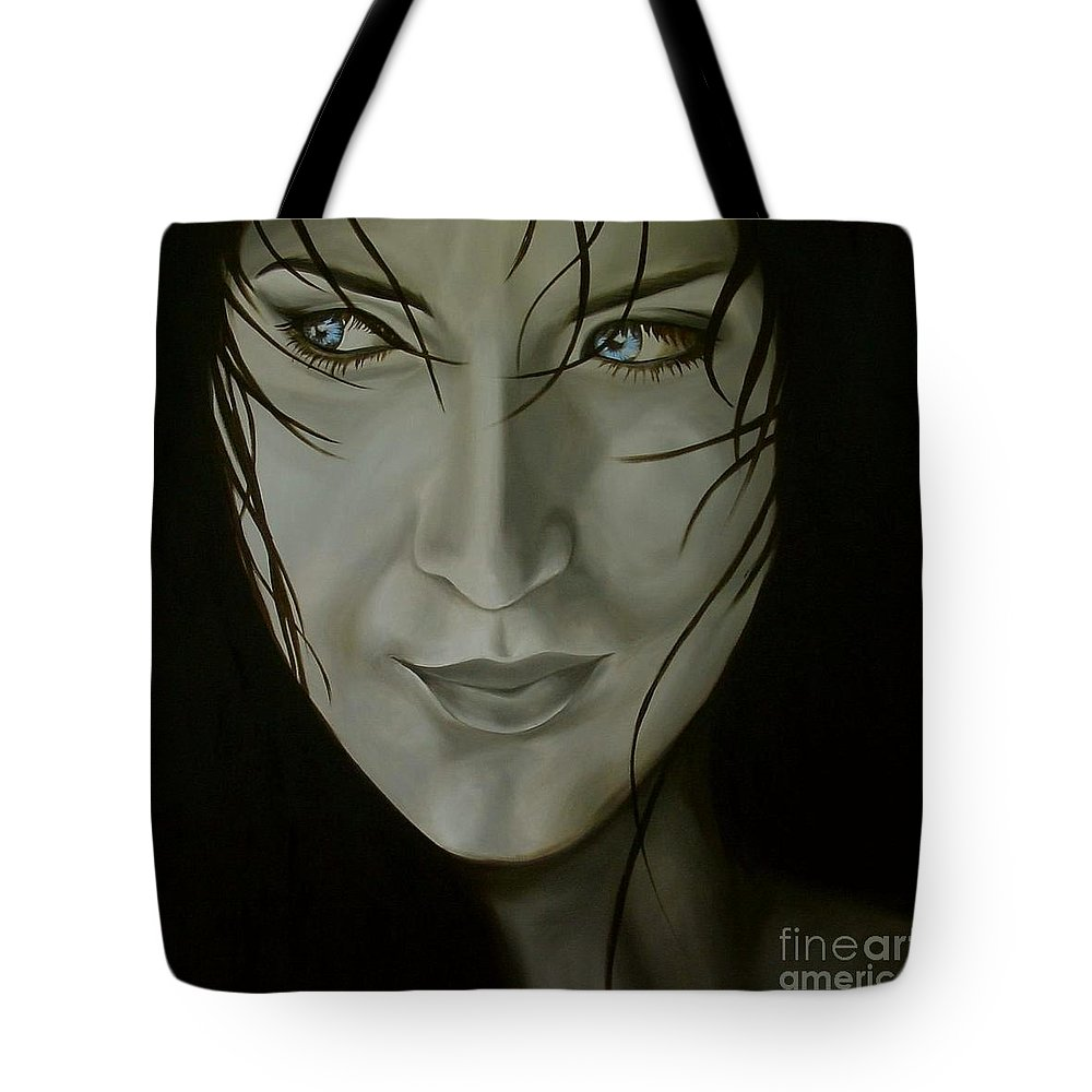 Girl Tote Bag featuring the painting Blue-eyed Girl by Jindra Noewi