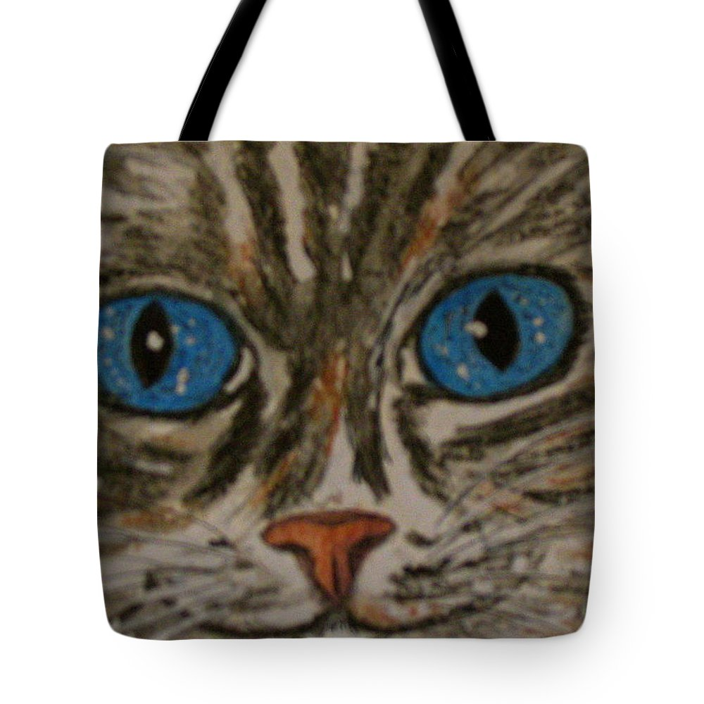 Blue Eyes Tote Bag featuring the painting Blue Eyed Tiger Cat by Kathy Marrs Chandler