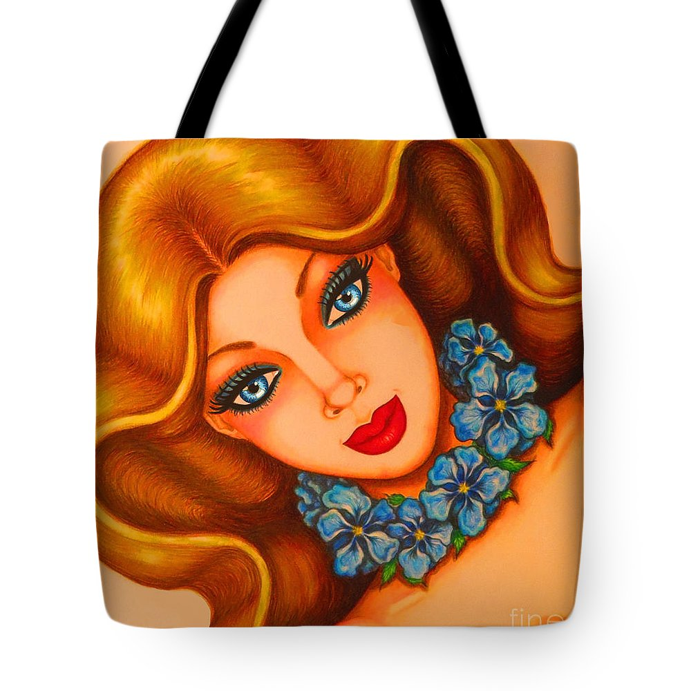 Art Tote Bag featuring the drawing Blue Eyes 3 by Tara Shalton