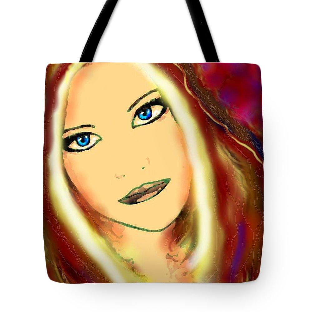 Woman Tote Bag featuring the painting Blue Eyes by Natalie Holland
