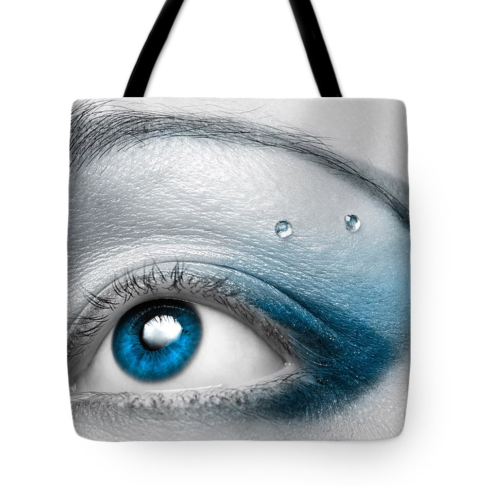 Eye Tote Bag featuring the photograph Blue Female Eye Macro With Artistic Make-up by Oleksiy Maksymenko