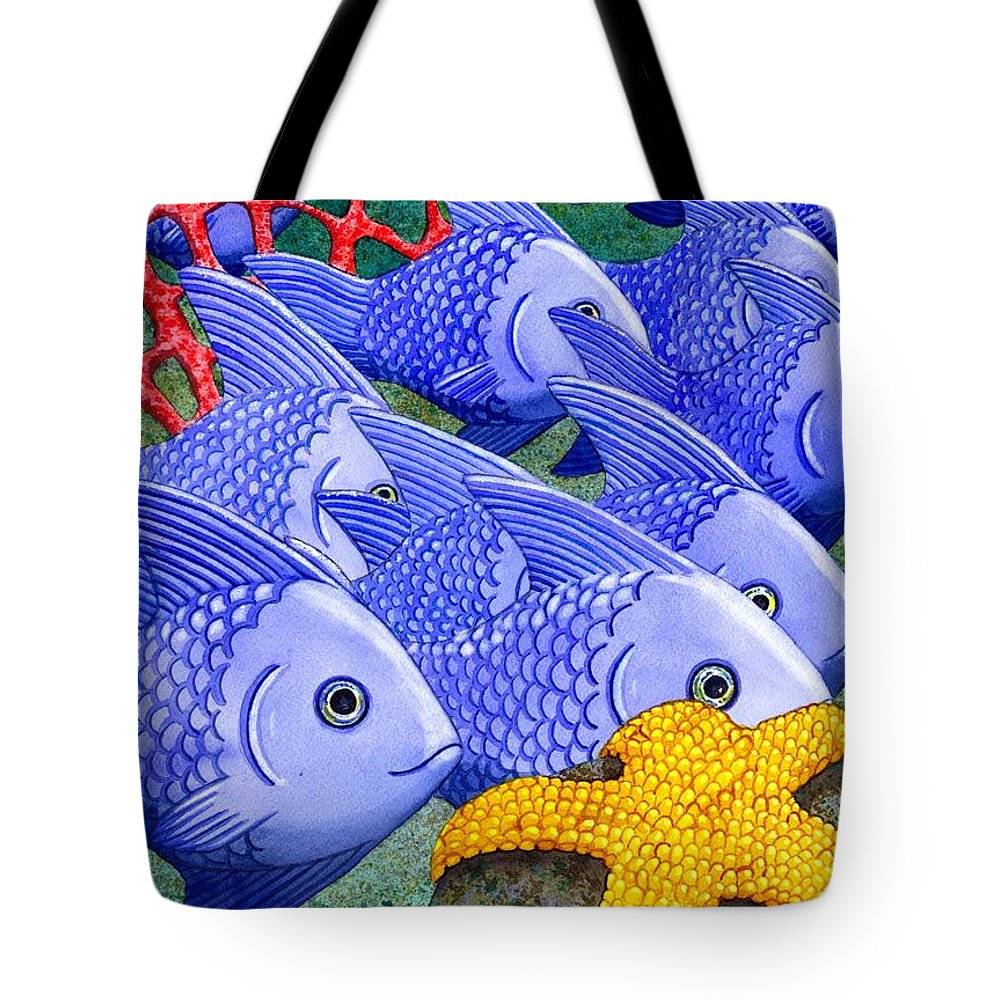 Fish Tote Bag featuring the painting Blue Fish by Catherine G McElroy