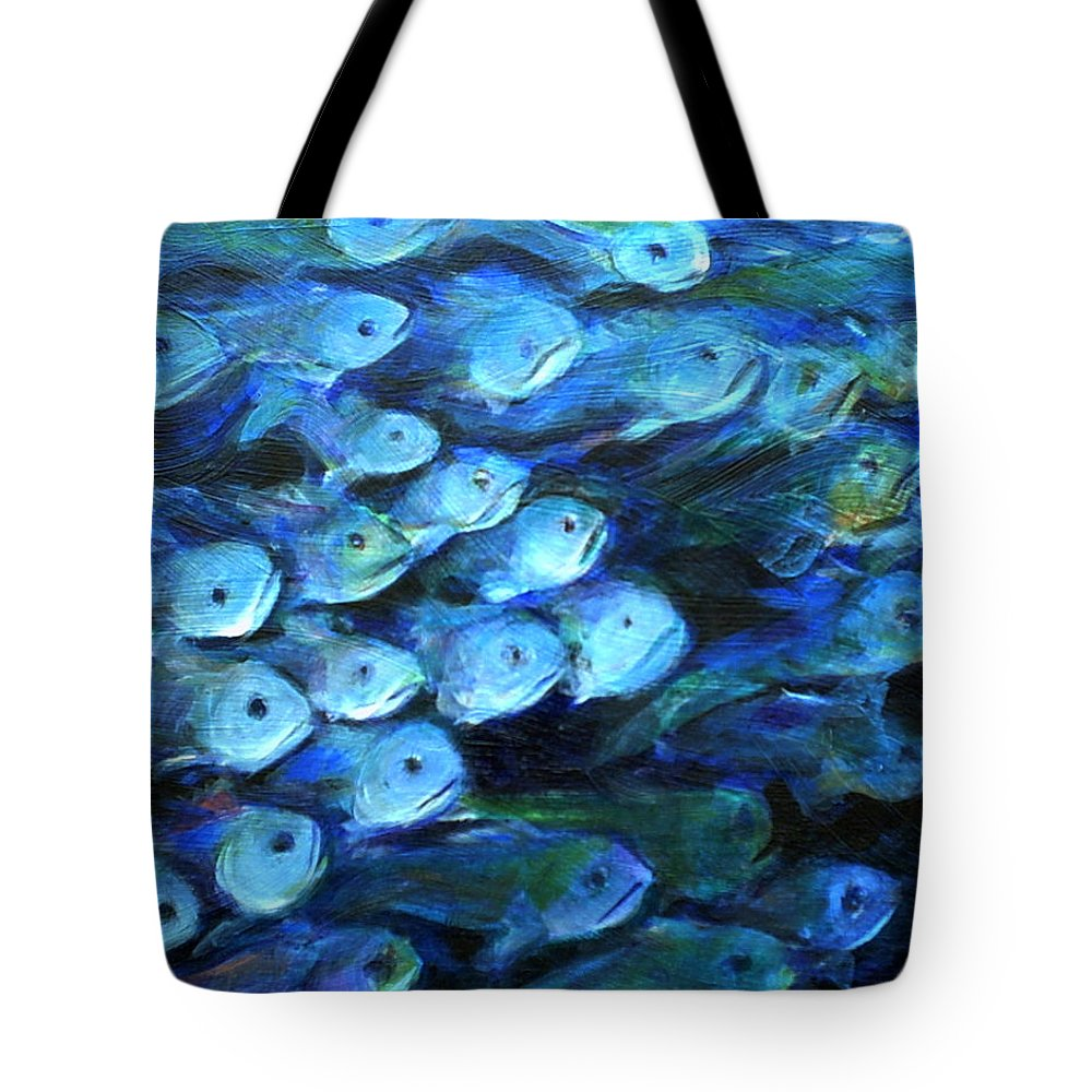 Blue Tote Bag featuring the painting Blue Fish by Nanci Cook