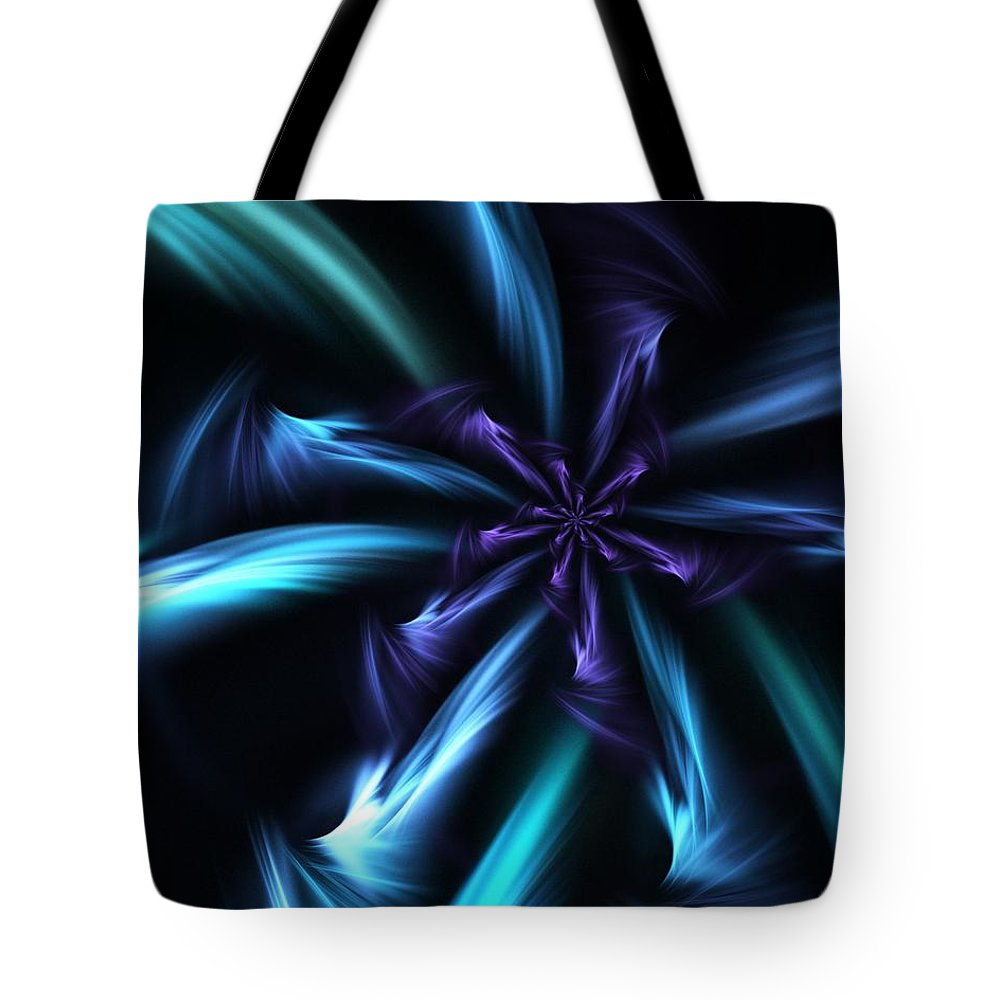 Fantasy Tote Bag featuring the digital art Blue Floral Fractal 12-30-09 by David Lane