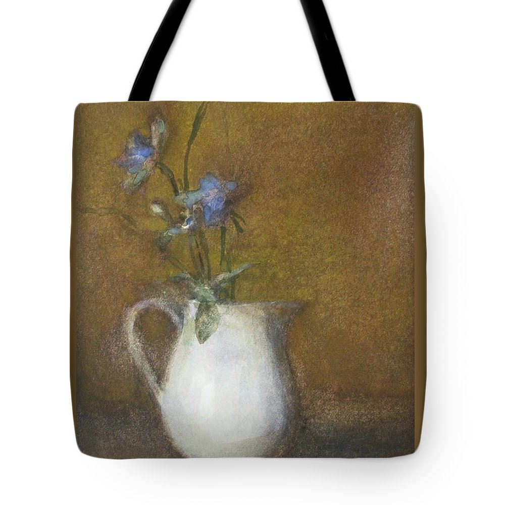 Floral Still Life Tote Bag featuring the painting Blue Flower by Joan DaGradi