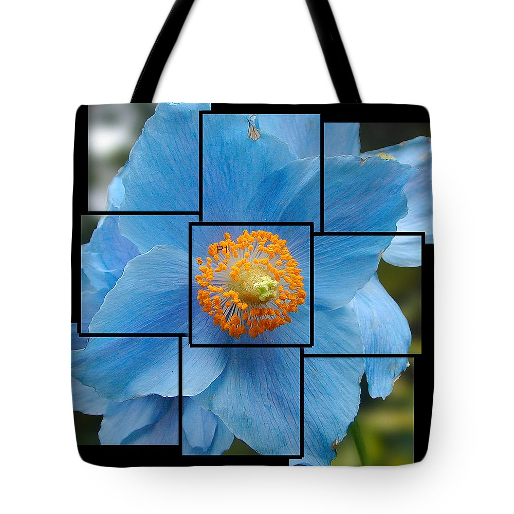 Blue Tote Bag featuring the sculpture Blue Flower Photo Sculpture Butchart Gardens Victoria Bc Canada by Michael Bessler