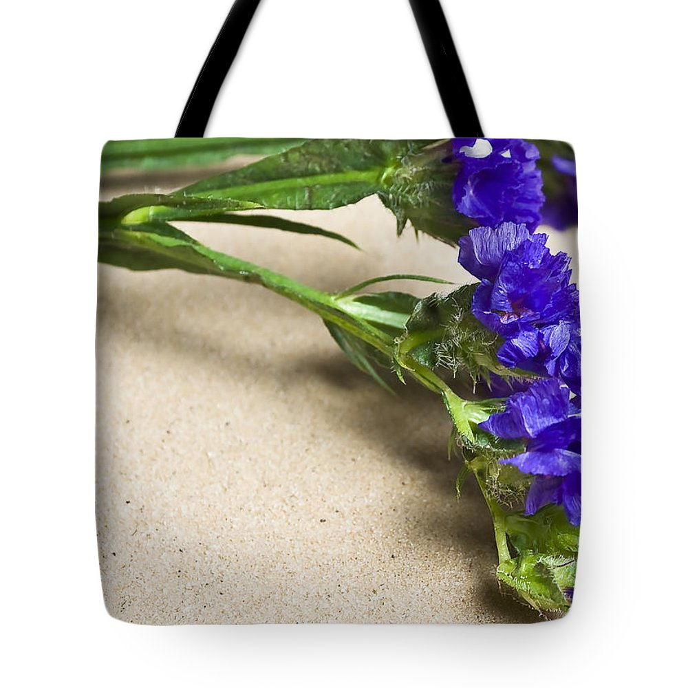 Blue Tote Bag featuring the photograph Blue Flower by Svetlana Sewell