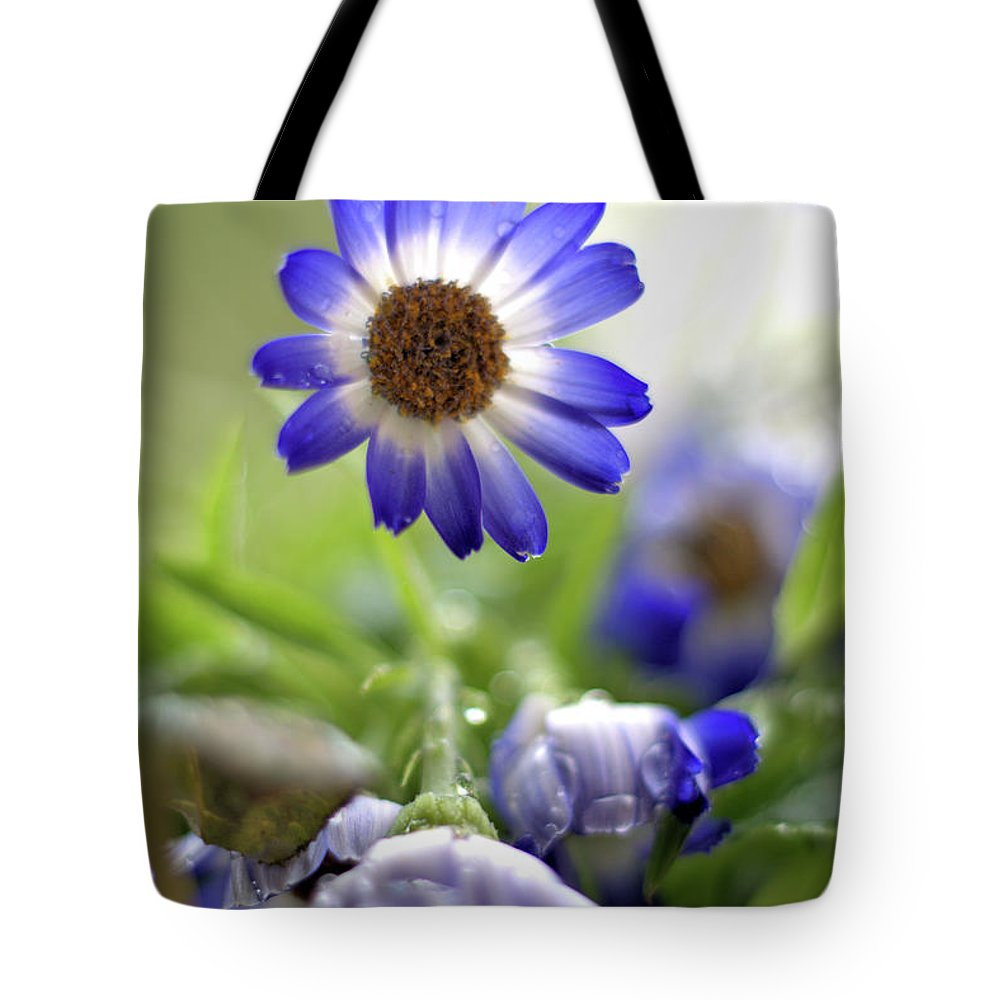 Flower Tote Bag featuring the photograph Blue Flowers by Camelia C