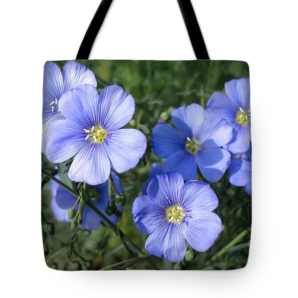 Flowers Tote Bag featuring the photograph Blue Flowers In The Sun by Todd Blanchard