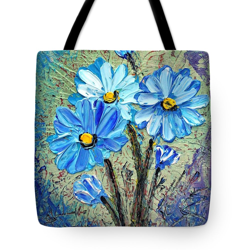 Flowers Tote Bag featuring the painting Blue Flowers by Luiza Vizoli