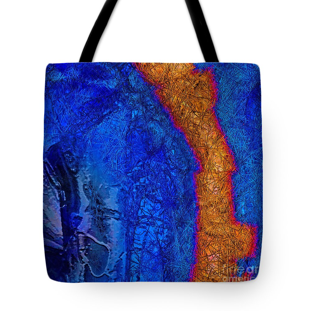Abstract Tote Bag featuring the painting Blue Force by Dee Flouton