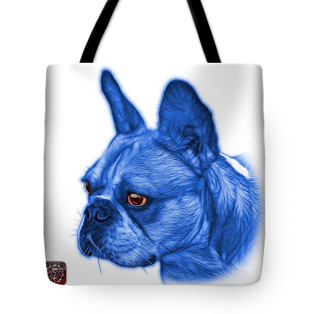 French Bulldog Tote Bag featuring the painting Blue French Bulldog Pop Art - 0755 Wb by James Ahn