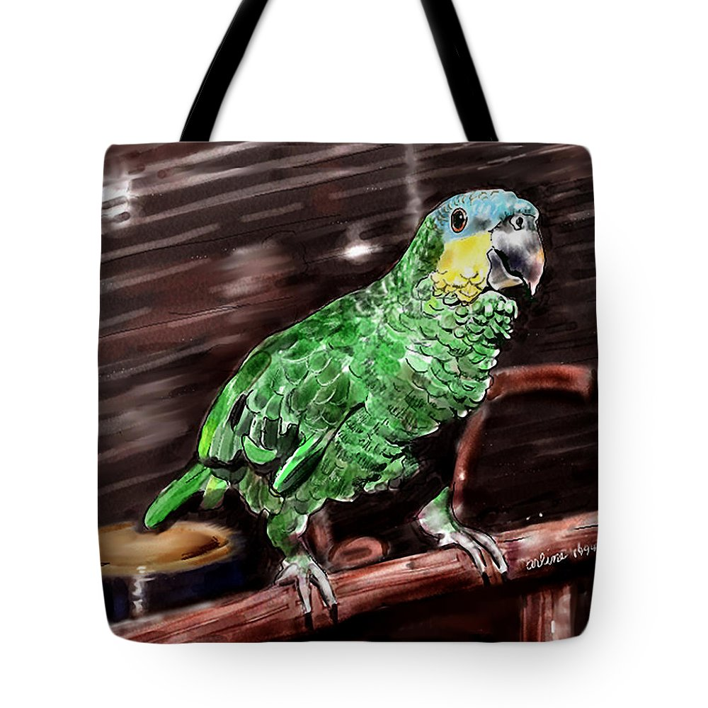 Bird Tote Bag featuring the digital art Blue-fronted Amazon Parrot by Arline Wagner