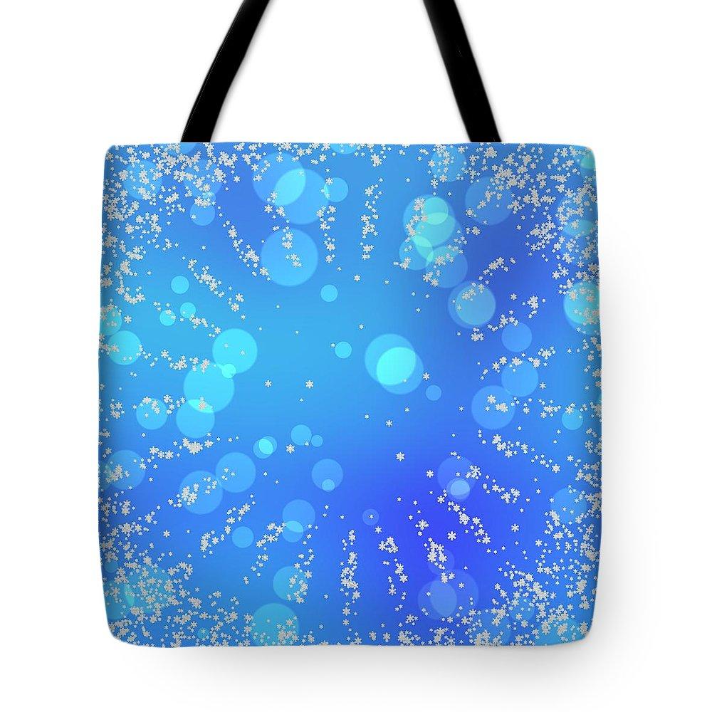 Bright Tote Bag featuring the digital art Blue Frozen Window by Lenka Rottova
