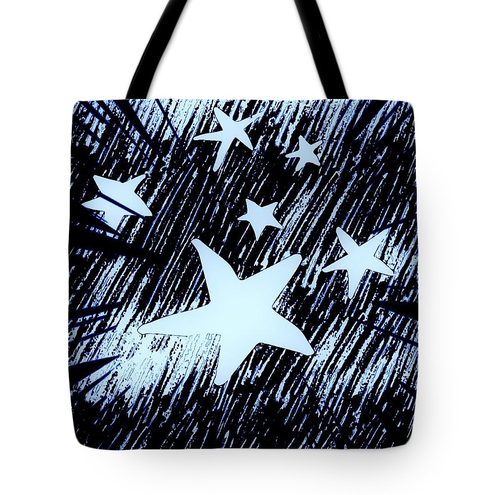 Digital Tote Bag featuring the digital art Blue Glow Starry Abstract by Debra Lynch