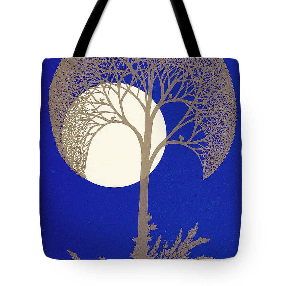 Tote Bag featuring the drawing Blue Gold Moon by Charles Cater