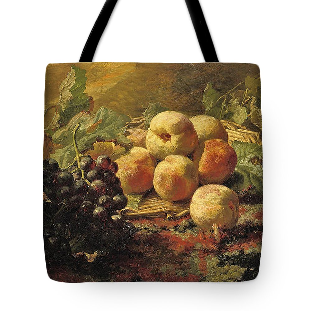 Gerardina Jacoba Van De Sande Bakhuyzen Tote Bag featuring the painting Blue Grapes And Peaches In A Wicker Basket by Gerardina Jacoba van de Sande Bakhuyzen
