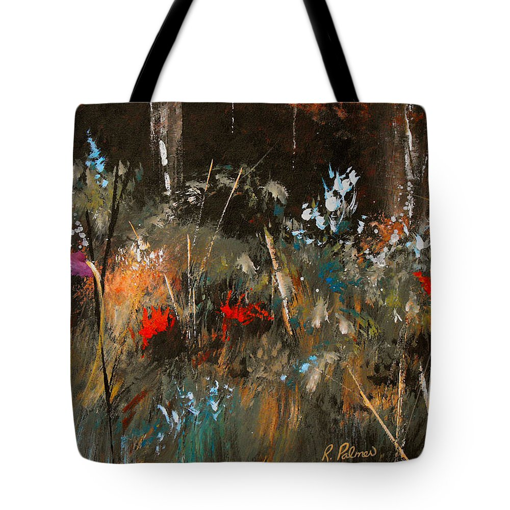 Abstract Tote Bag featuring the painting Blue Grass And Wild Flowers by Ruth Palmer