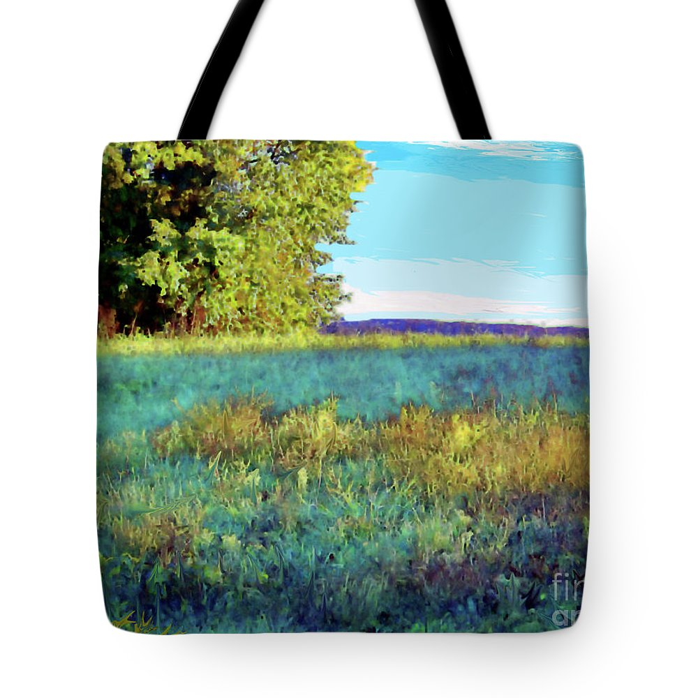 Blue Tote Bag featuring the photograph Blue Grass Sunny Day by Shirley Moravec