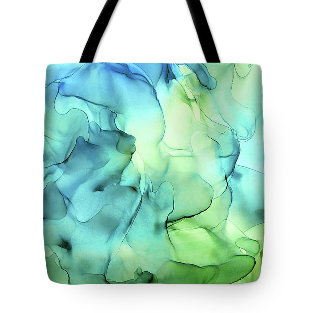 Ink Abstract Tote Bag featuring the painting Blue Green Abstract Ink Painting by Olga Shvartsur