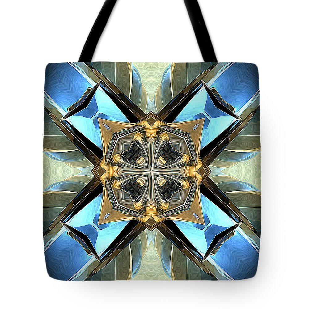 Blue Tote Bag featuring the digital art Blue, Green And Gold Abstract by Phil Perkins