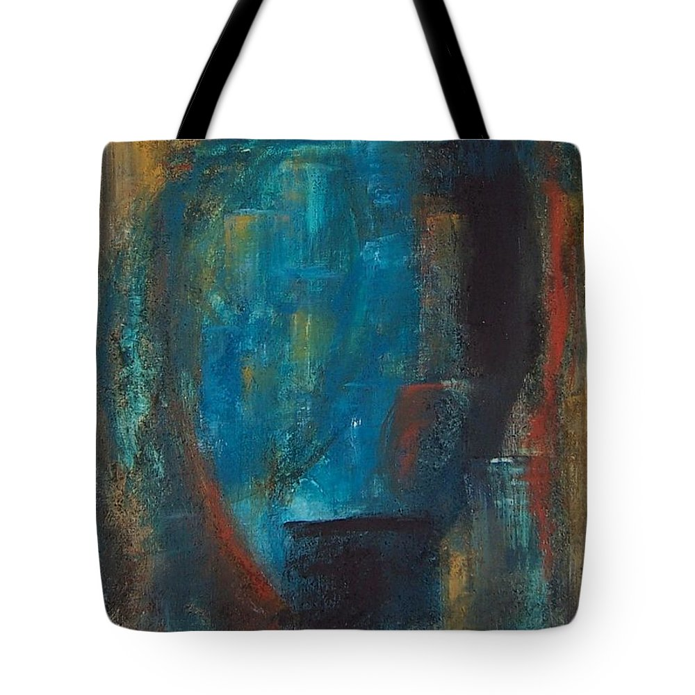 Abstract Tote Bag featuring the painting Blue Grotto by Karen Day-Vath