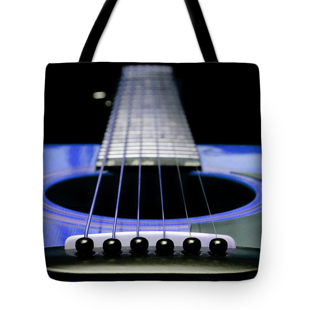 Andee Design Guitar Tote Bag featuring the photograph Blue Guitar 14 by Andee Design