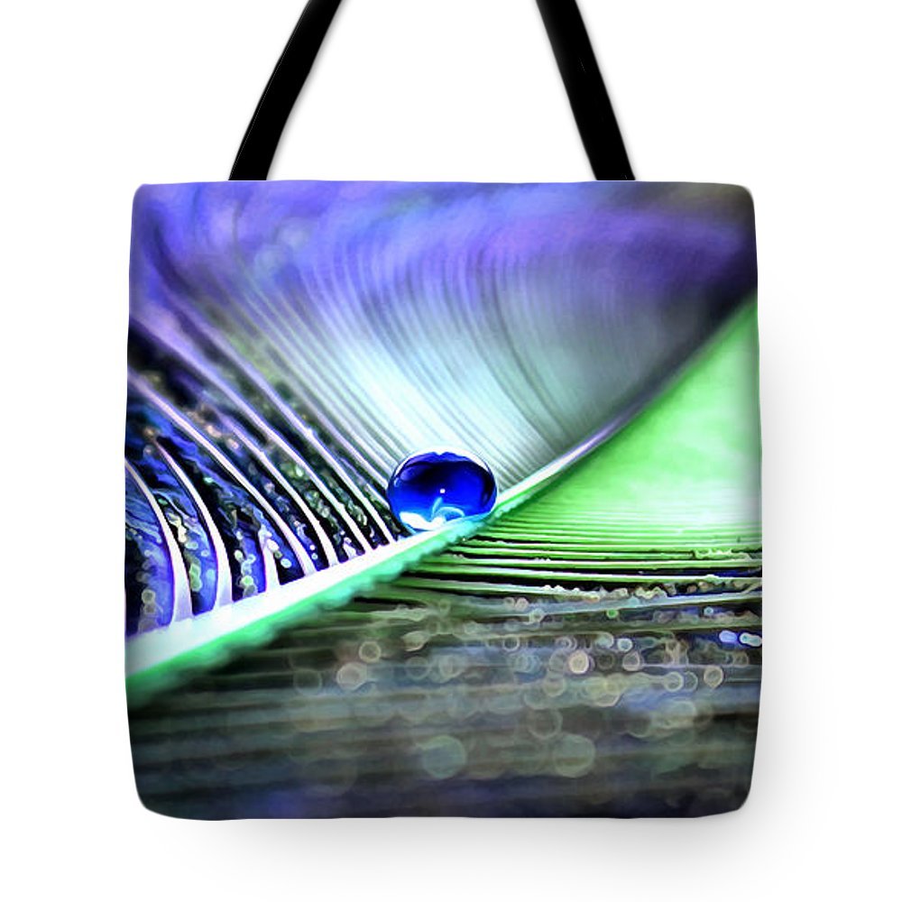 Peacock Feather Tote Bag featuring the photograph Blue Gypsy by Krissy Katsimbras