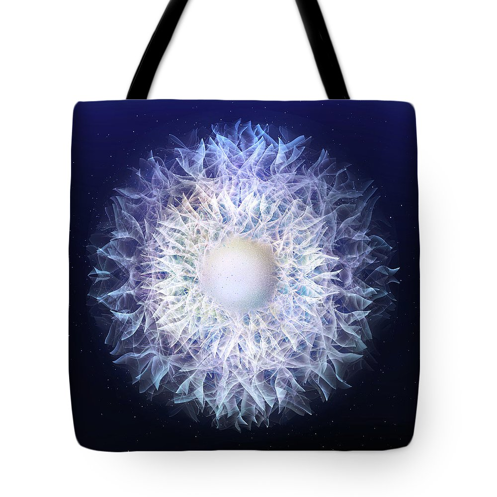 Digital Tote Bag featuring the digital art Blue Haze Petals by Andy Young
