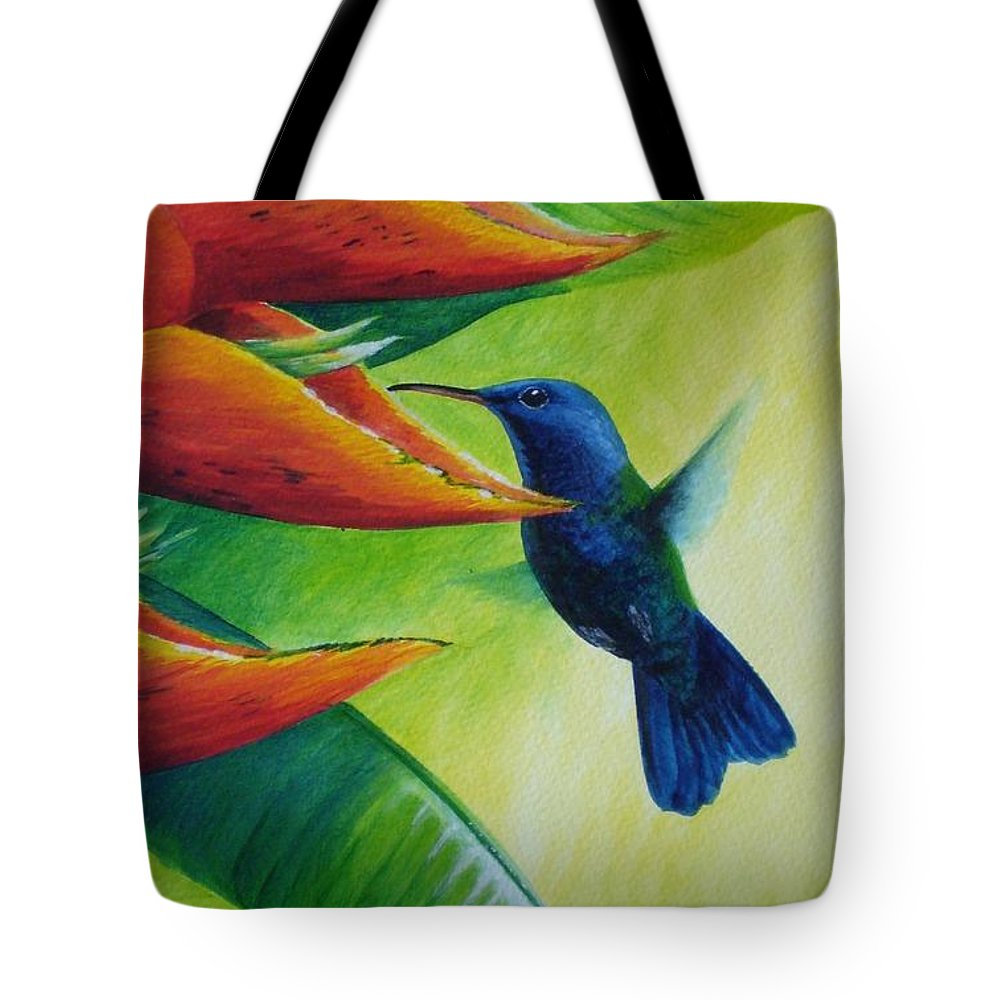 Blue-headed Hummingbird Tote Bag featuring the painting Blue-headed Hummingbird by Christopher Cox