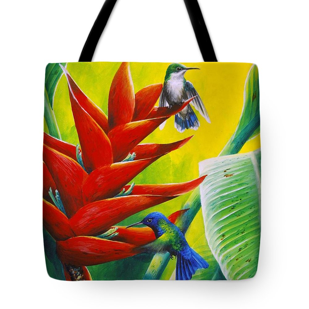 Chris Cox Tote Bag featuring the painting Blue-headed Hummingbirds And Heliconia by Christopher Cox
