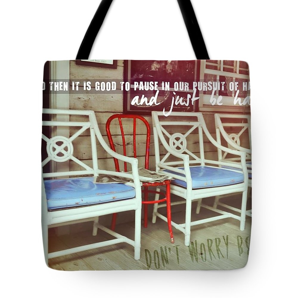 Chair Tote Bag featuring the photograph Blue Heaven Quote by JAMART Photography