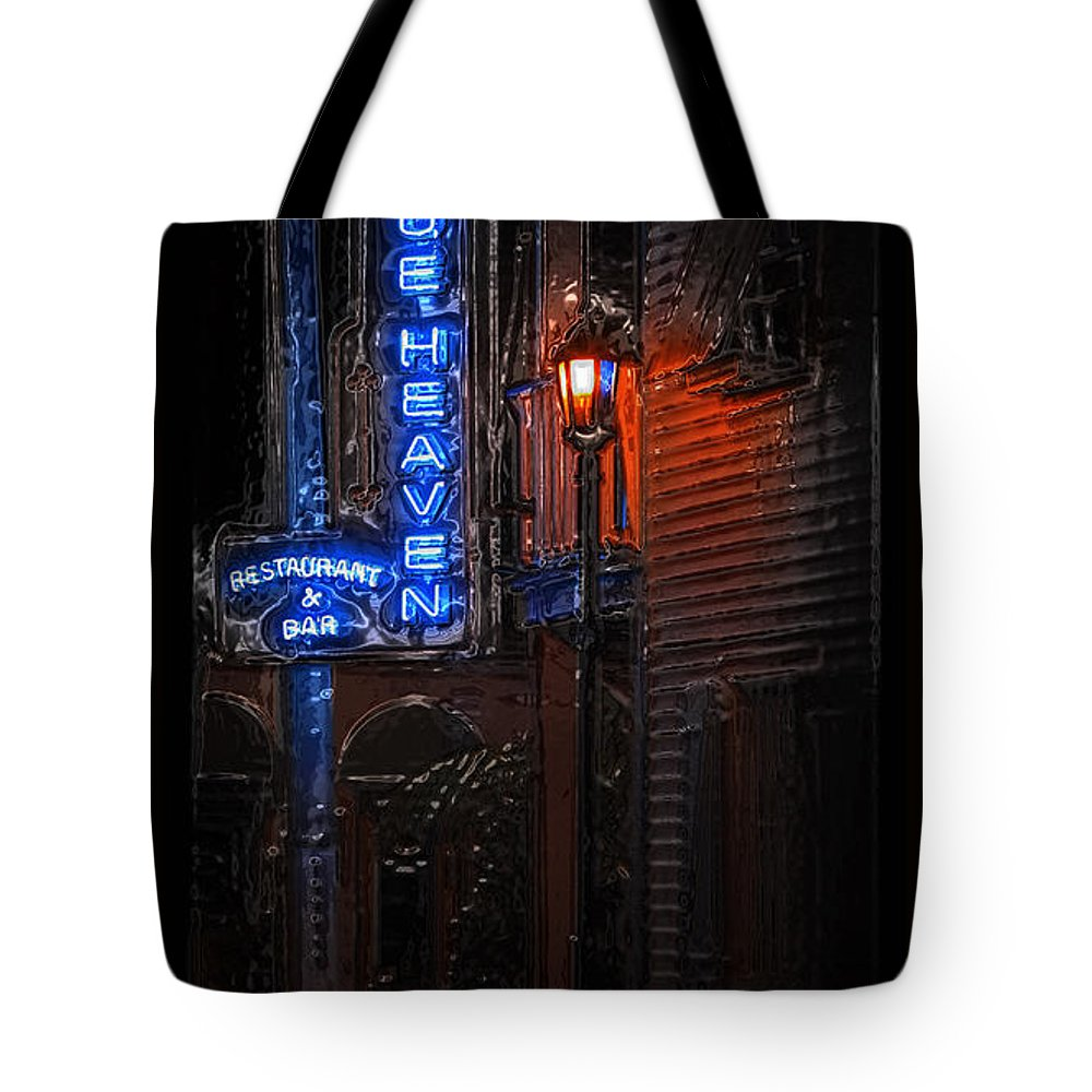 Blue Heaven Tote Bag featuring the photograph Blue Heaven Rendezvous - Key West Bar - Florida by John Stephens