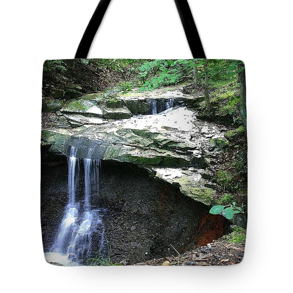 Waterfall. Water Tote Bag featuring the photograph Blue Hen Falls by Nelson Strong