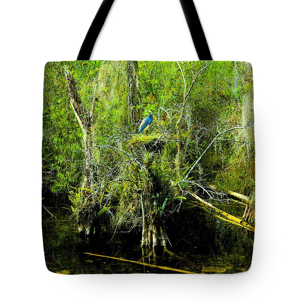 Art Tote Bag featuring the painting Blue Heron by David Lee Thompson