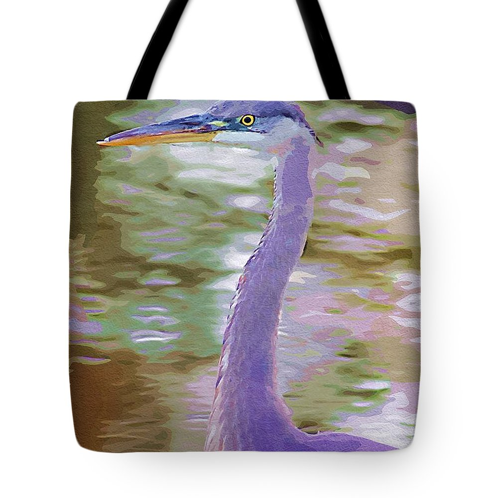 Ponds Tote Bag featuring the photograph Blue Heron by Donna Bentley